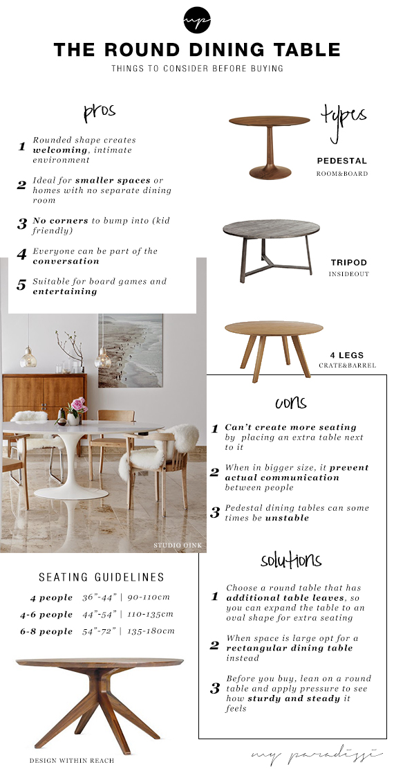 The round dining table. Things to consider before buying | My Paradissi