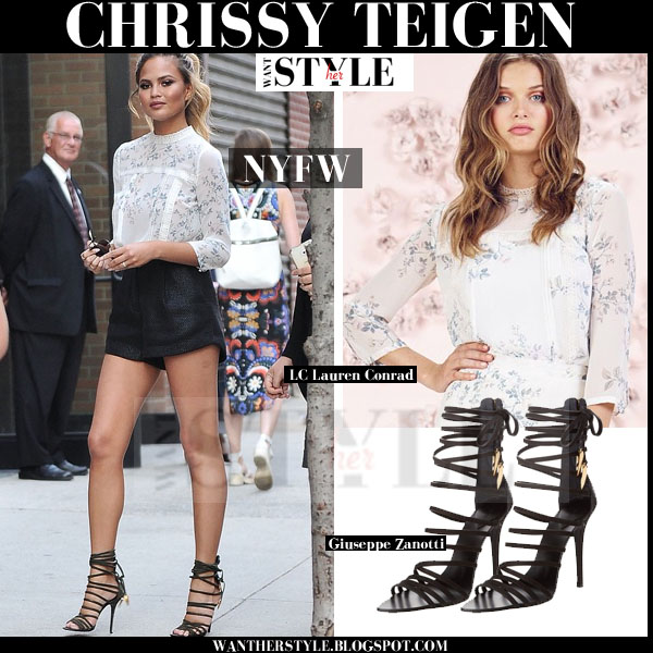 Chrissy Teigen in lace trim floral print Lauren Conrad blouse, black shorts and black strappy sandals giuseppe zanotti front row nyfw 2015