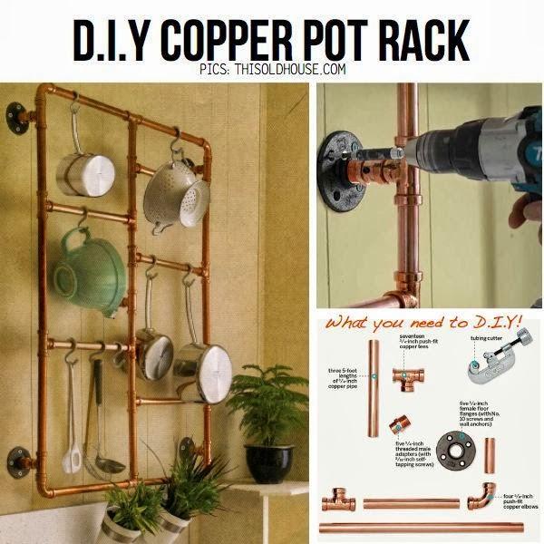 DIY Copper Pot Rack Ideas