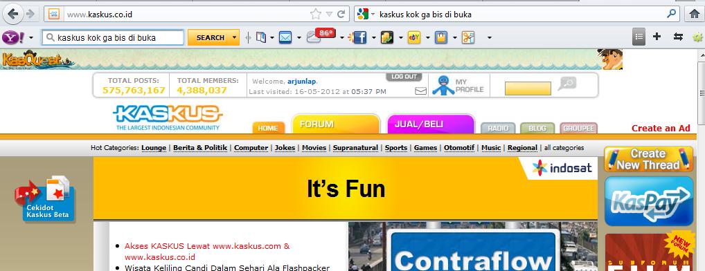 Forum kaskus us lagi dwon sejak 26 mey 2012 gan