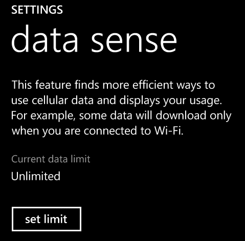 setting limit on data sense app on windows phone
