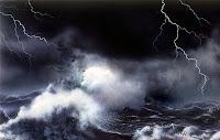 fırtına deniz okyanus, şimşek,dev dalgalar