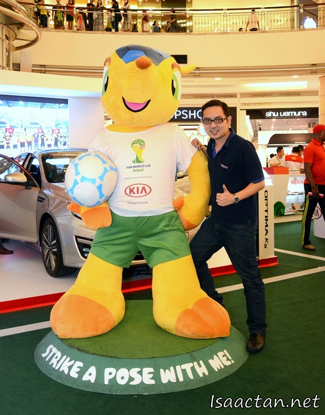 Here's me taking the chance to snap a picture with the KIA World Cup mascot