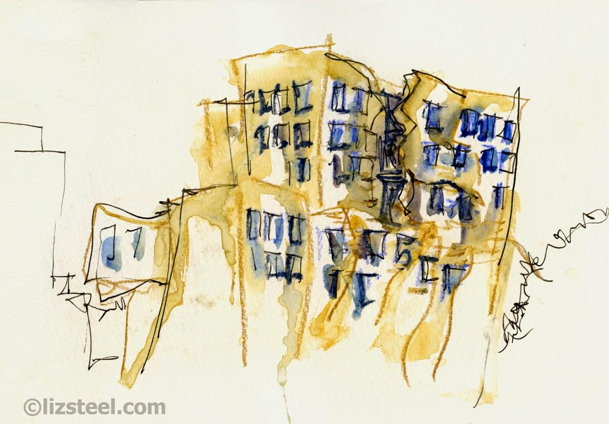 Sketching inside a Gehry Construction Site - Liz Steel : Liz Steel