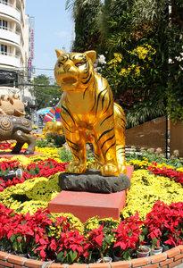 Tiger model at the flower festival