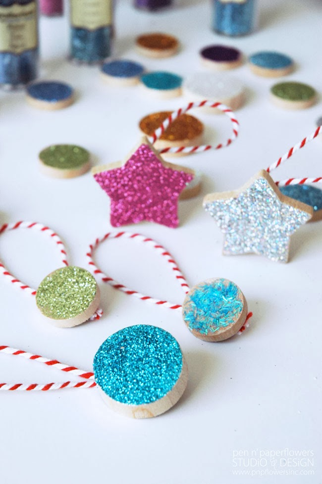 Pen paper flowers craft diy hand glittered for Michaels crafts christmas trees