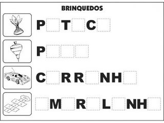 Jogos e atividades para alfabetização - Complete as palavras - Brinquedos