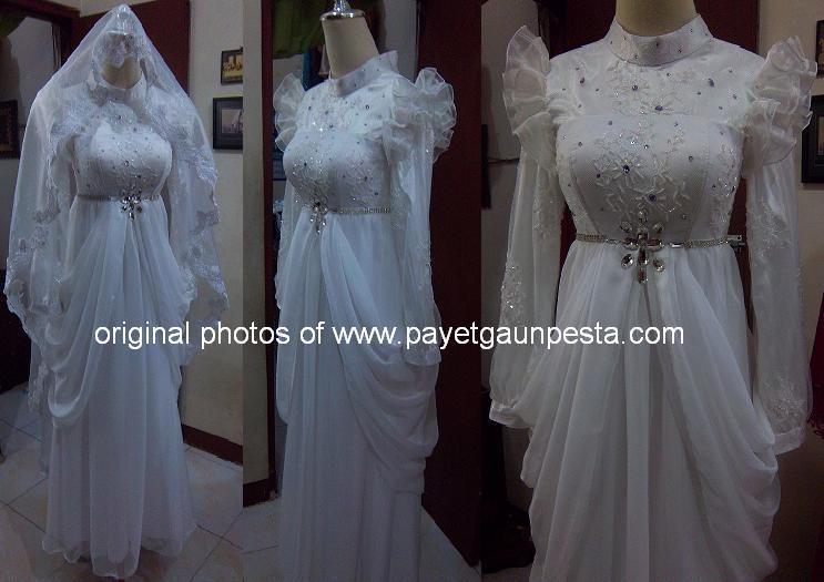 Abaya Akad Nikah Modern dengan Lace dan Batu Kristal