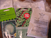 seeds...The Brassicas.....Cabbage (Golden Acre & Ormskirk), Brussel Sprouts (Evesham Special), Cauliflower (All Year Round), Calabrese, Purple Sprouting Broccoli, Swiss Chard (Lucullus), Spinach (Picasso)