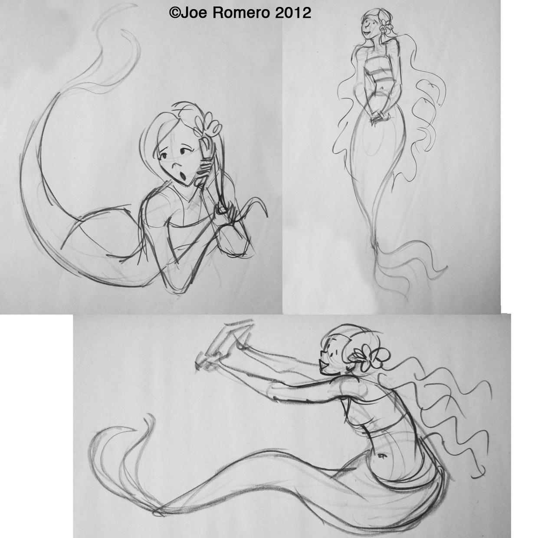 joe u0026 39 s art and animation  gesture drawing mermaid