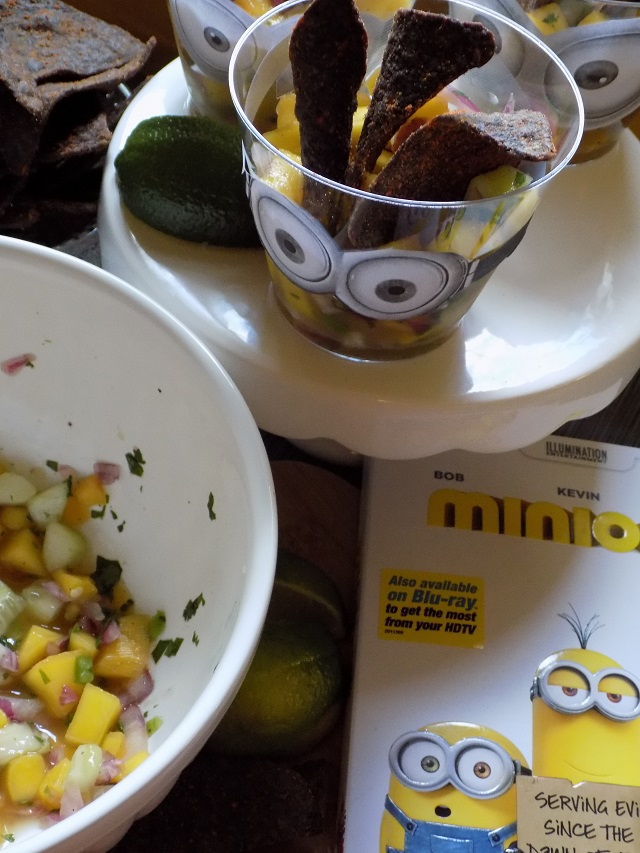 Easy Mango Salsa Recipe & DIY Minions Movie Serving Cups For your Next Family Movie Night One Savvy Mom blog nyc