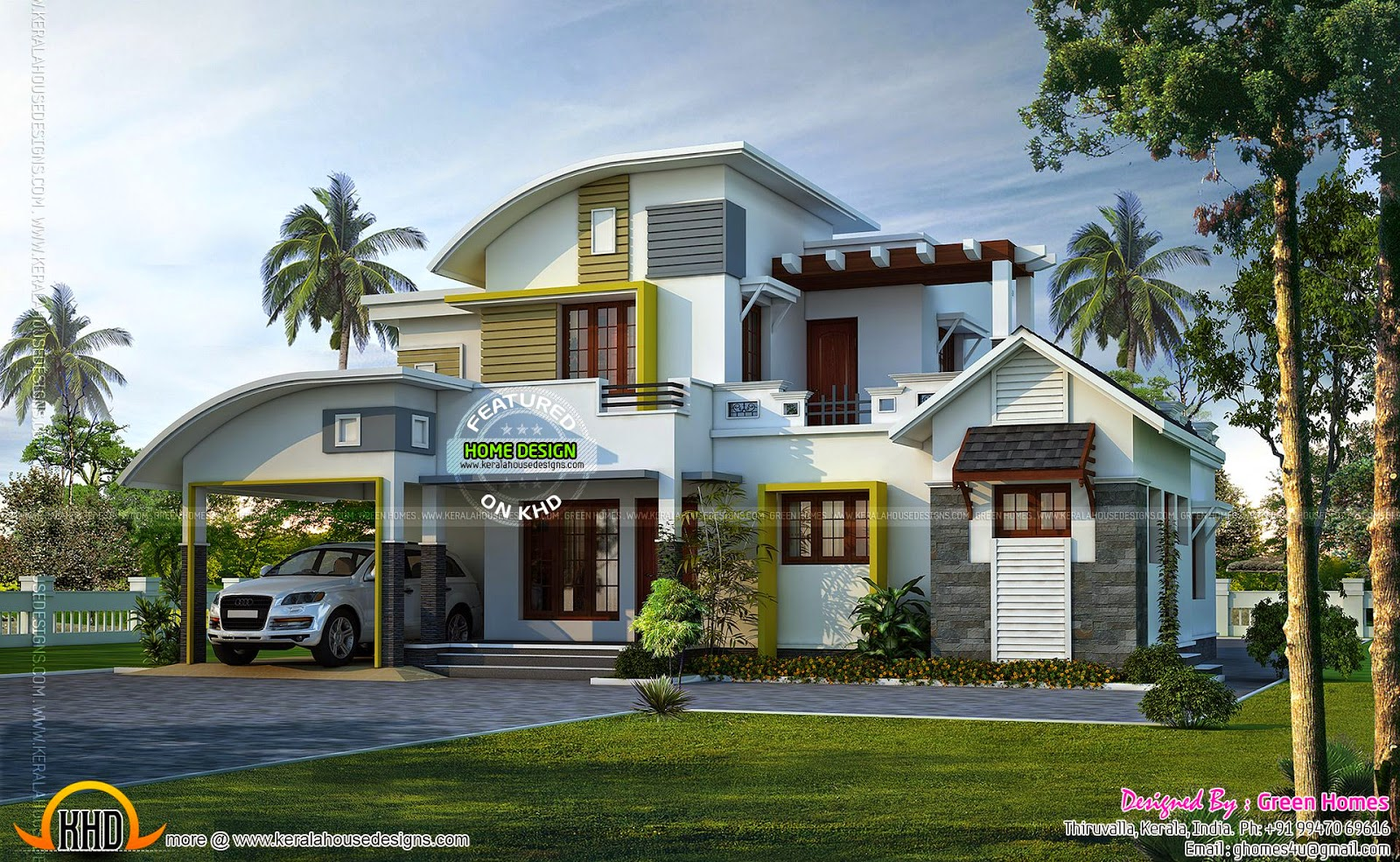 2014 kerala home design and floor plans for Modern villa exterior design