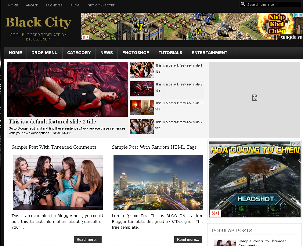 BlackCity Blogger Template
