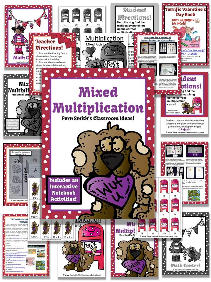 Fern Smith's Valentines Multiplication Mixed Facts Center and Interactive Notebook Activity