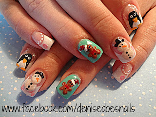 snowman, penguin, gingerbread nail art