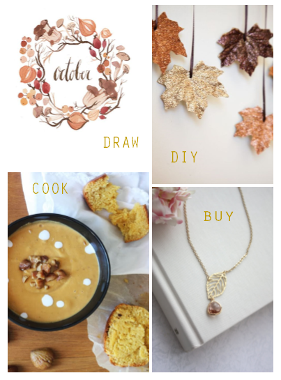 october - automn - cook - draw - diy - buy fall board - draw diy cook buy