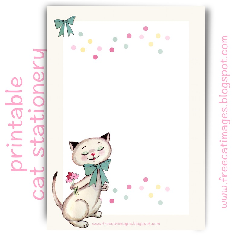 free cat images  free printable vintage kitty stationery