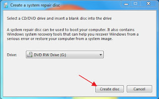 select a dvd to create system restore