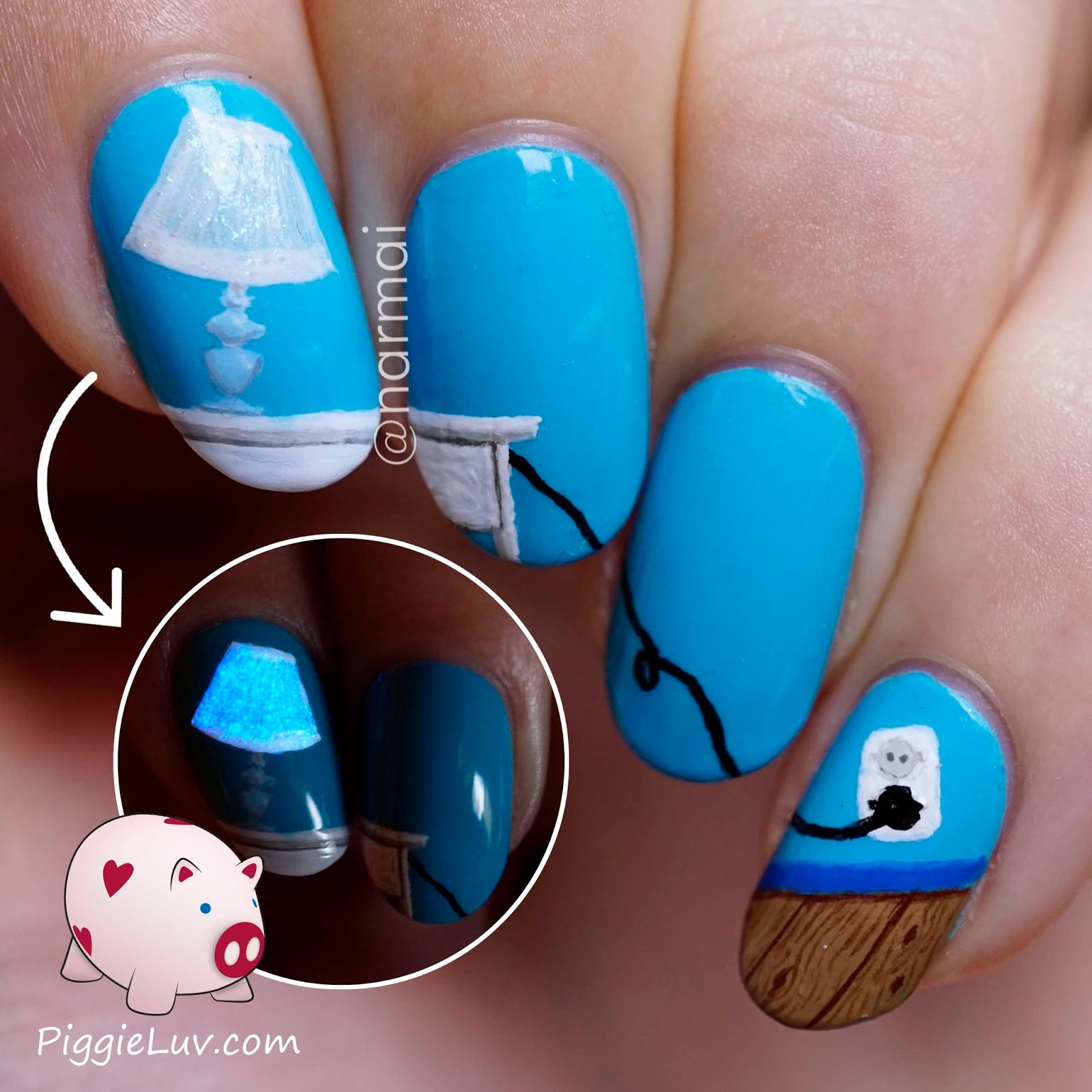 PiggieLuv: Glow in the dark table lamp nail art