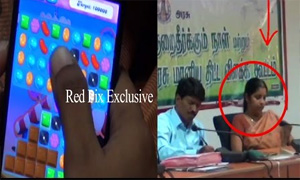 Lady Officer Playing 'Candy Crush' In Dharmapuri Farmers Grievance Meeting