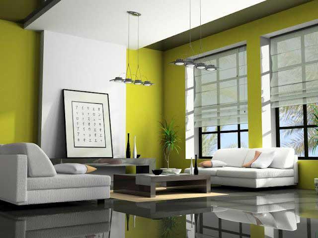 Koleksi desain ruangan nuansa warna cat hijau rumah minimalis