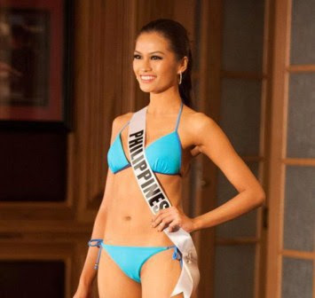 Janine Tugonon wearing a blue Kooey Australia swimsuit in a Miss Universe 2012 event