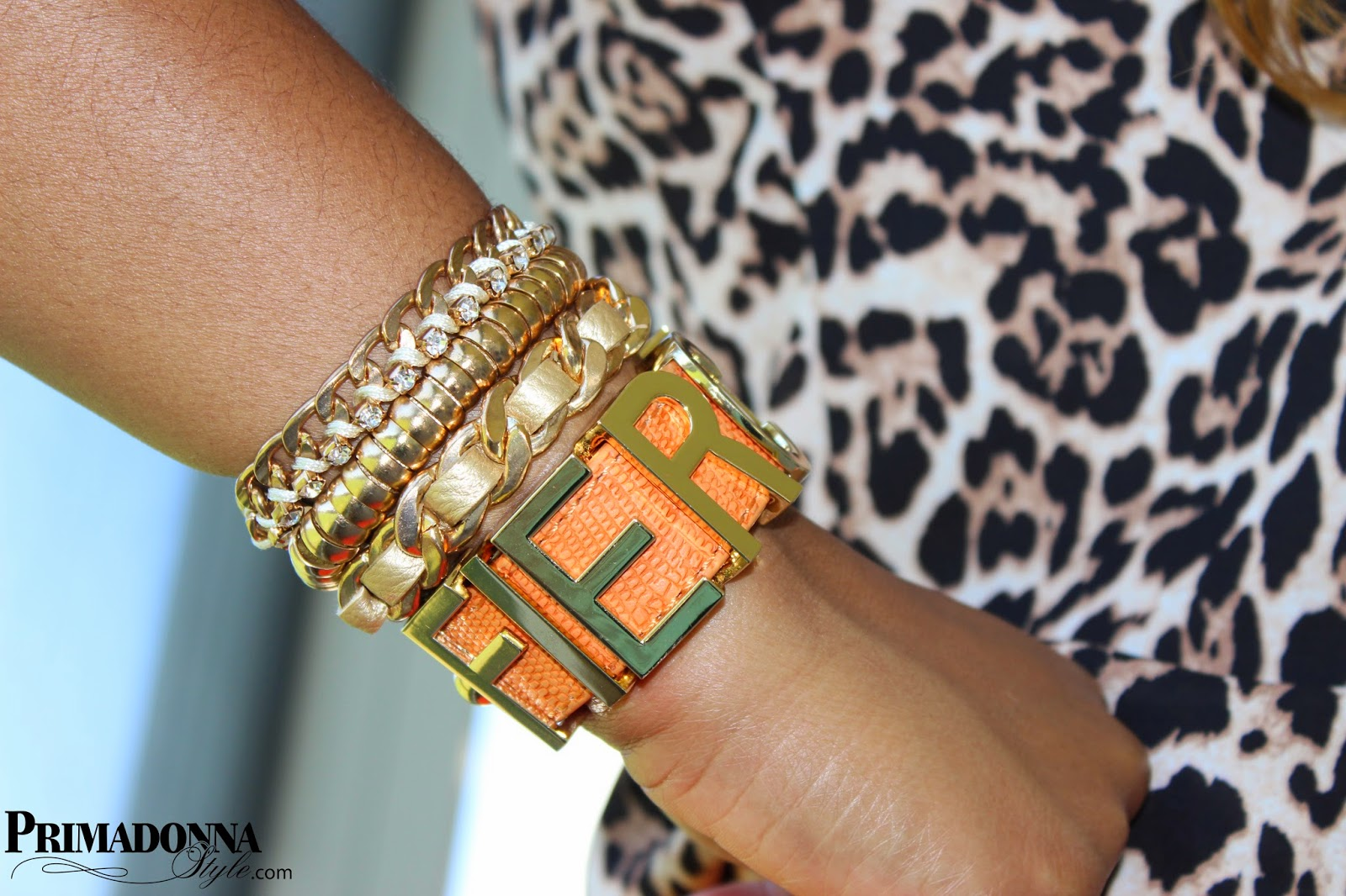 "BCBGeneration ""Fierce"" Large Affirmation Bracelet (Orange)  Capsule by Cara Wide 3 Row Multi-Color Bracelet"