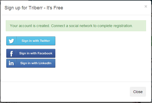 Sign-in with twitter, facebook or linkedIn on triberr