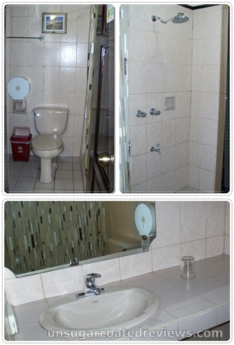 sink, toilet, and shower in bathroom