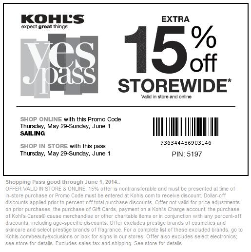 Kohls online coupon code