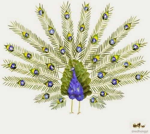 07-Peacock-Made-With-Butterfly-Pea-Flowers-Bottlebrush-Leaves-Coconut-Leaf-Sticks-Allamandas-Trumpet-Flowers-Malaysian-Architect-Hong-Yi-aka-Red-www-designstack-co
