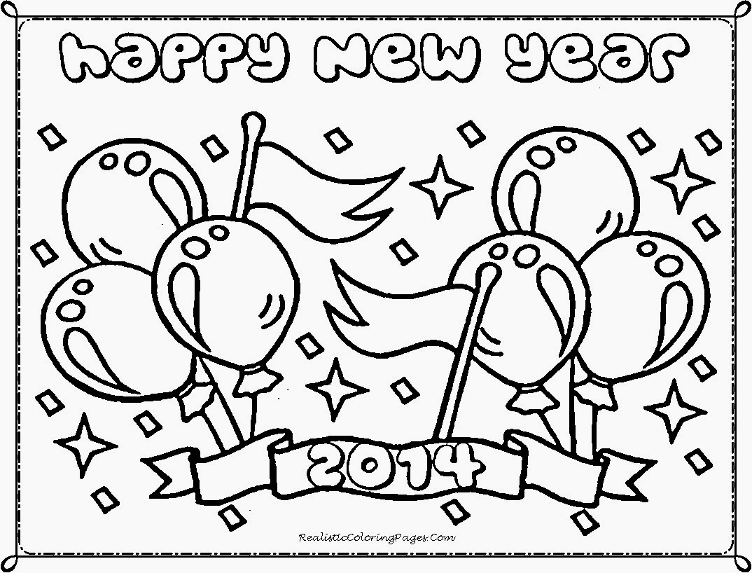 Happy New Year 2014 Coloring Pages | Realistic Coloring Pages