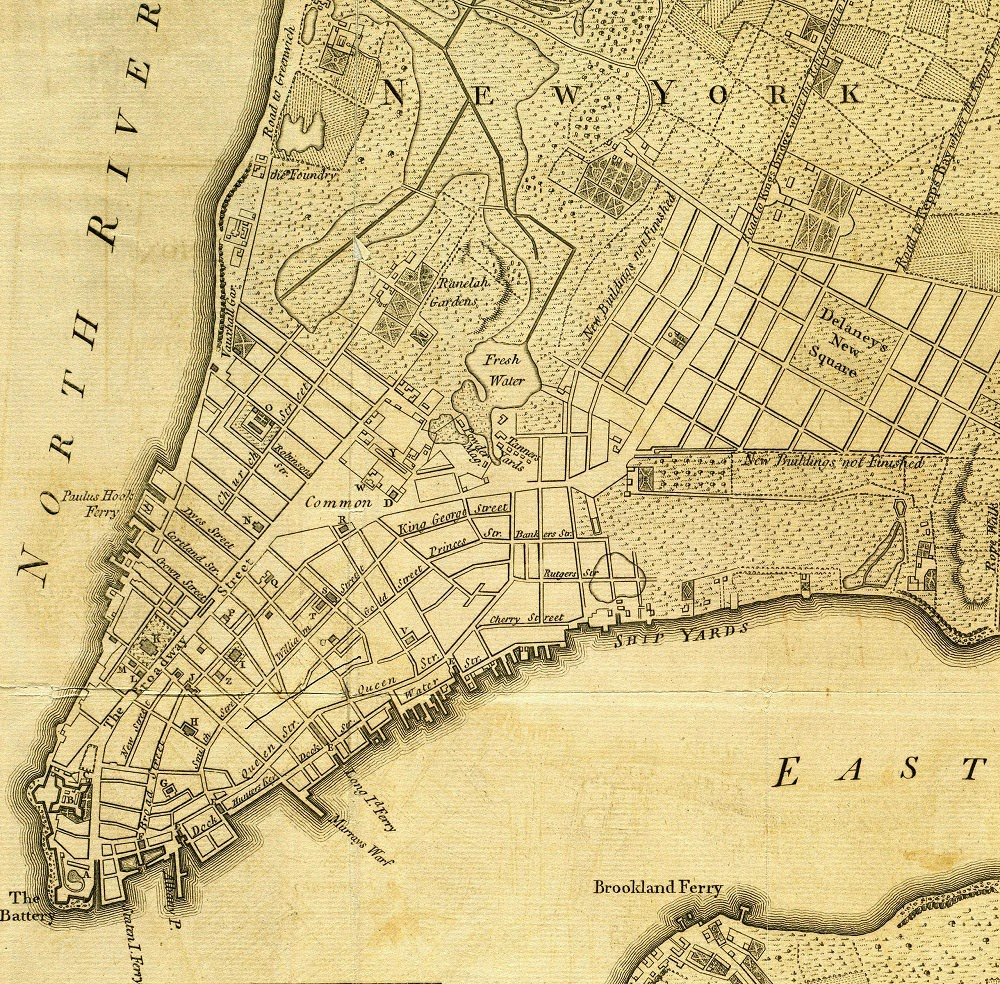 new york city 1776 fort george is at the lower left before landfill was added into the north river of the hudson
