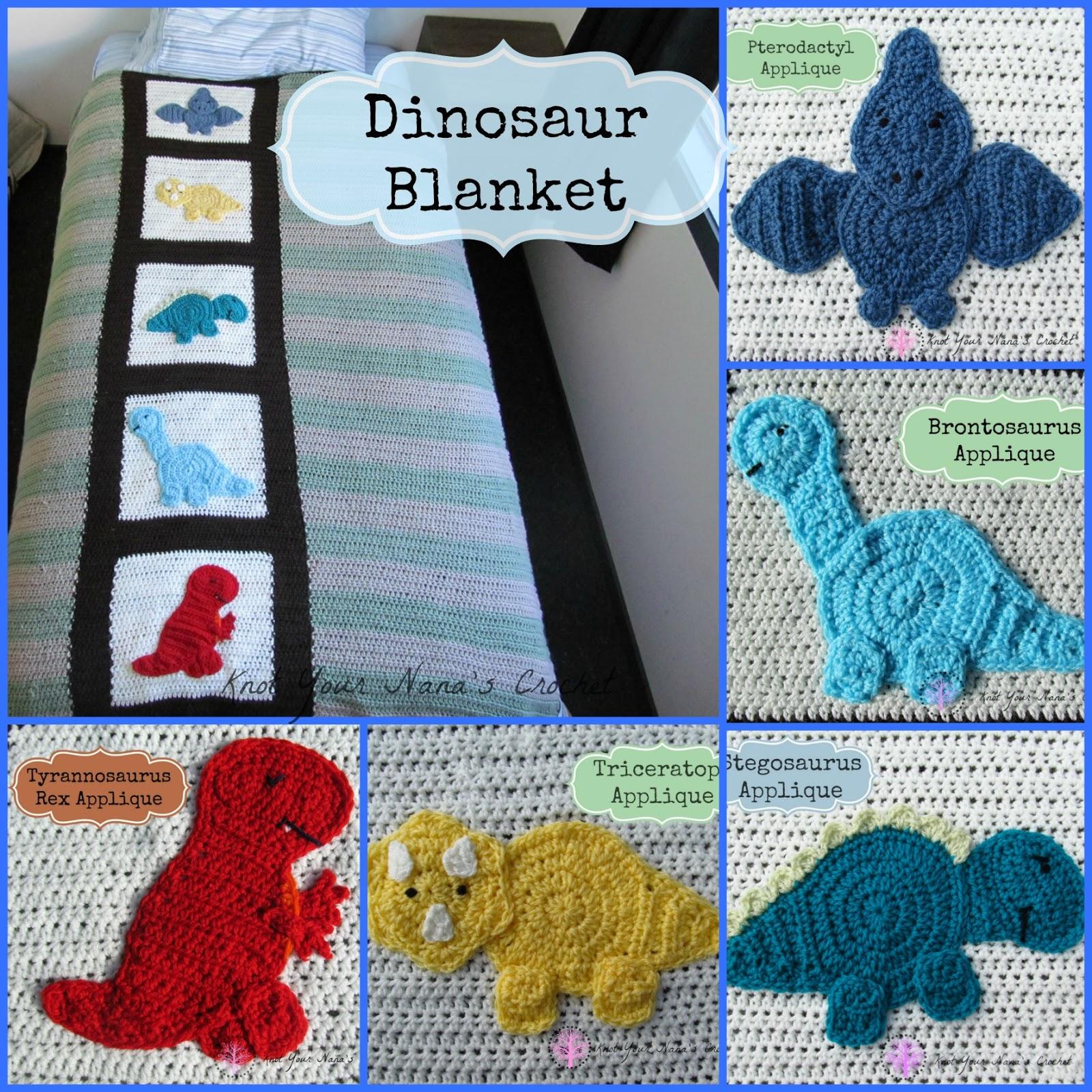 Baby Dinosaur Knitting Pattern : Knot Your Nanas Crochet: Crochet Dinosaur Blanket