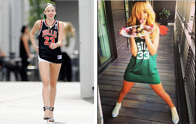 Celebrity Sports Jersey Fashion: Miley Cyrus & Rihanna