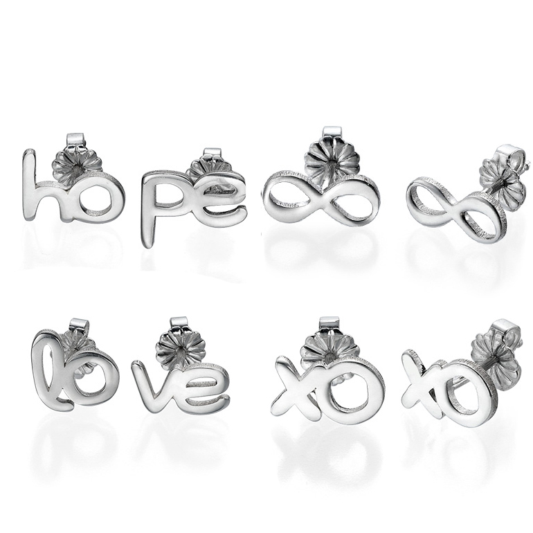 four pairs of stud earrings