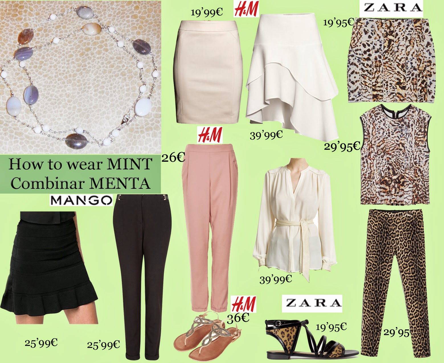 How to Wear Mint, Combinar Menta, Mint, Mango, Zara, H&M, Rombie, Topshop, American Aparel, pink, black, white, coral, Leopard, brujaness