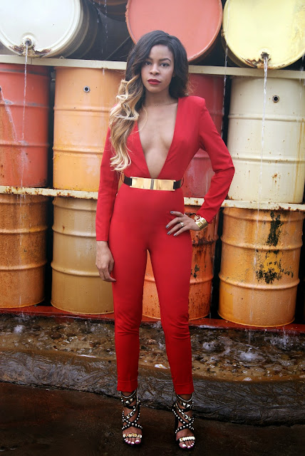 jumpsuit, playsuit, red one piece, allthingsslim, ombre hair
