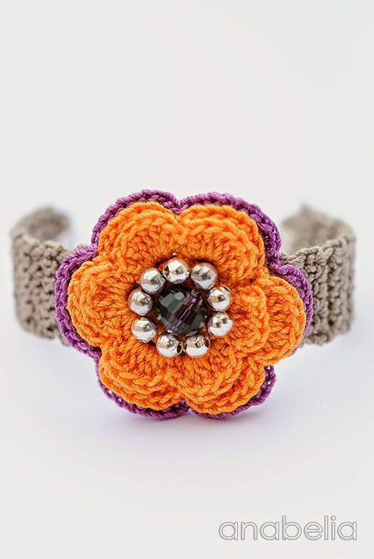 Orange violet crochet bracelet by Anabelia