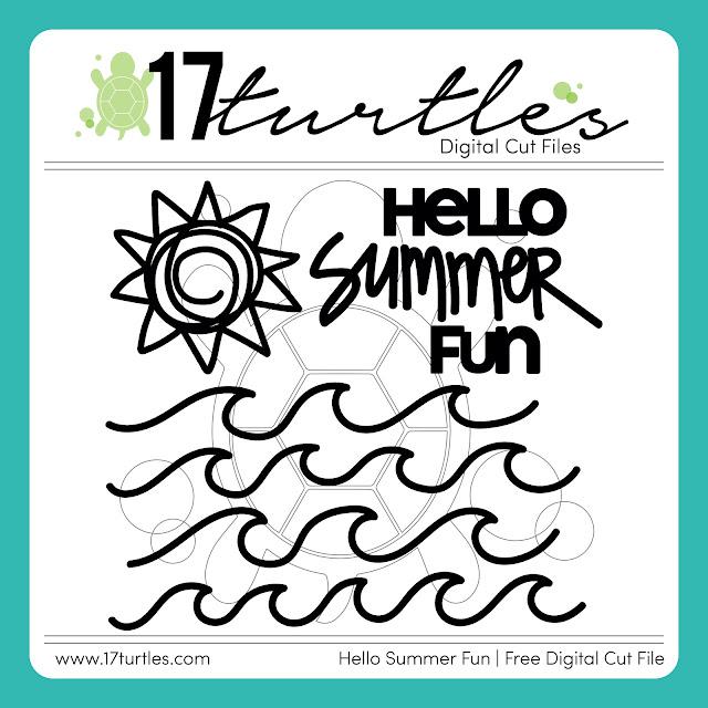 Hello Summer Fun Free Digital Cut File by Juliana Michaels 17turtles