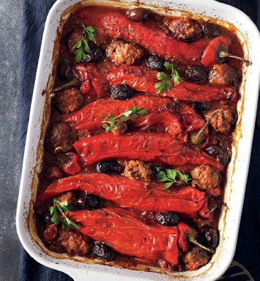 Chorizo, Beef and Couscous Stuffed Peppers