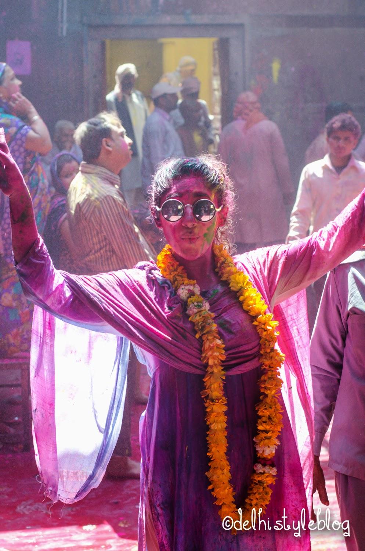 Holi at Banke Bihari Temple 1