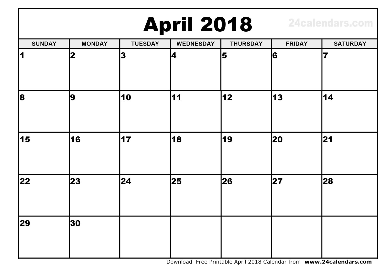 Calendar Layout April : Printable calendar free april
