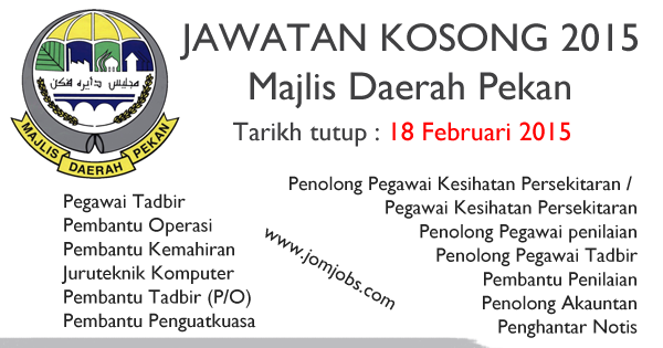Jawatan Kosong Majlis Daerah Pekan 2015 Terkini