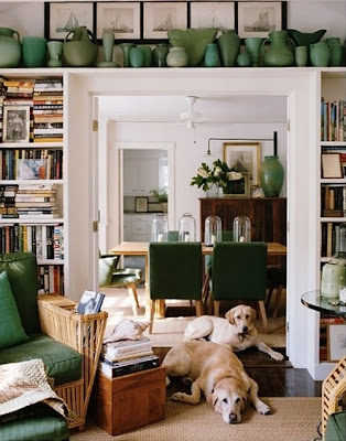 mylittlehousedesign.com green vase collection on top of bookcases