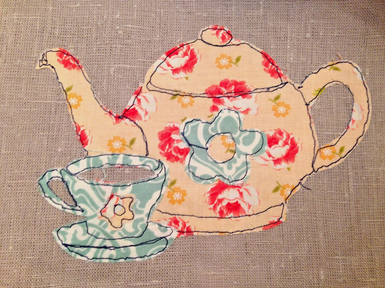 CRAFTY RED A Free Motion Embroidery Teapot And Cup