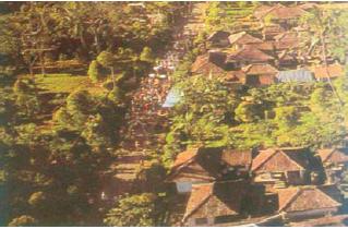 Line village atau pola desa memanjang mengikuti alur jalan. (Sumber: Indonesian Heritage)
