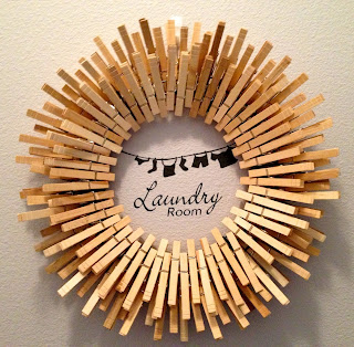 Clothespin wreath for laundry room