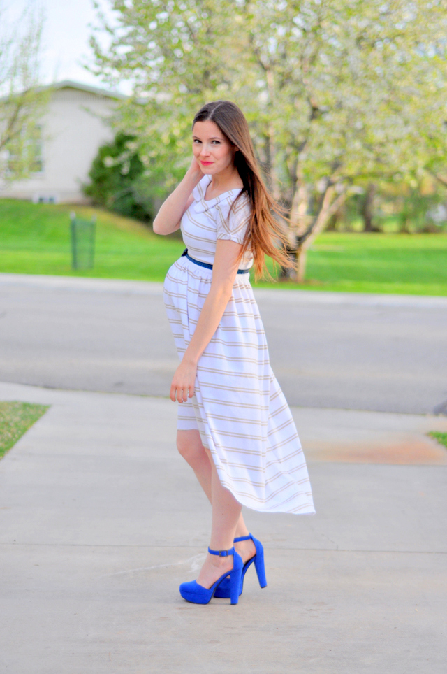Maternity Striped Dress With Shoe