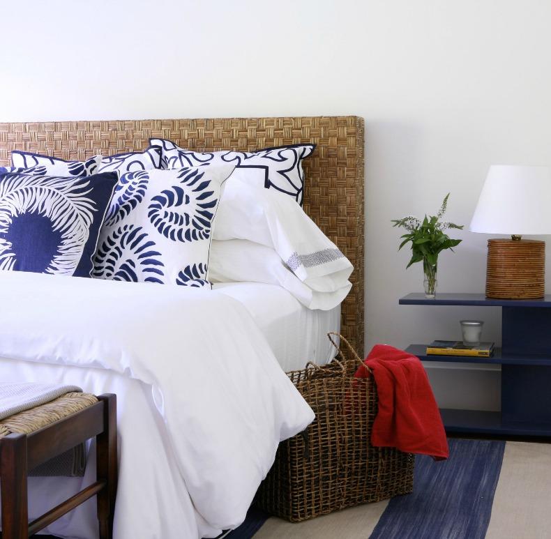 blue white and rattan coastal bedroom